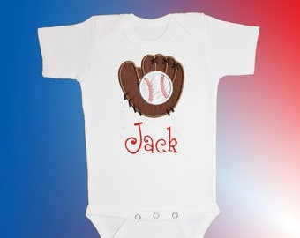 Bodysuit Baby Clothes - Personalized Applique - Baseball Glove - Embroidered Short or Long Sleeved - Free Shipping