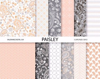 Paisley Digital paper pack in pink and grey, digital backgrounds - 12 jpg files 12x12 - INSTANT DOWNLOAD  539