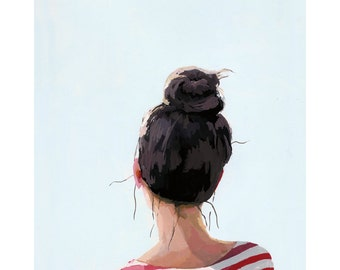 "5x7"" hair art - bun print - ""Top Knot 24"""