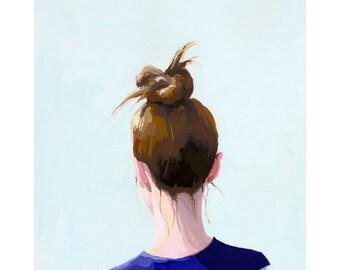 "5x7"" hair art - bun print - ""Top Knot 26"""