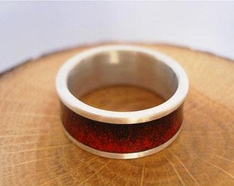 Sterling silver enamel red black ring enamel jewelry vitreous enamel fired on silver