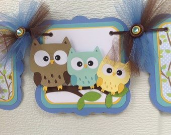 It's a boy banner, owl family banner, owl baby shower, owl banner, owl decorations, owl baby, table banner, photo prop, blue and brown