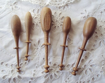 5 Vintage French Handmade Wooden Lace Bobbins Lace Making Hand Turned Treen