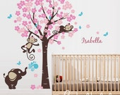 Cherry blossom tree with girl monkeys, elephant, custom name - Nursery Wall Decal