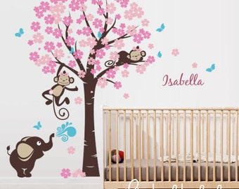 Cherry blossom tree with girl monkeys, elephant, custom name - Nursery Wall Decal