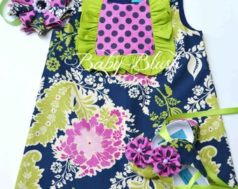 Navy Blue Apple Green A-line Dress Shoes Headband Set Infant Outfit Baby Shoes