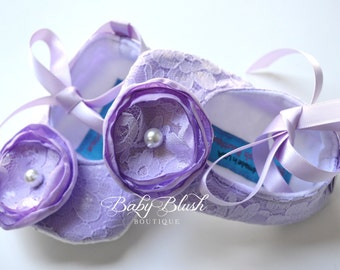 Lilac Lace Vintage Baby Shoes Ballerina Slippers