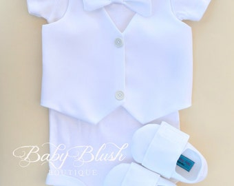 All white Vest Bow tie Baby Boy Outfit Photo Prop Matching Shoes
