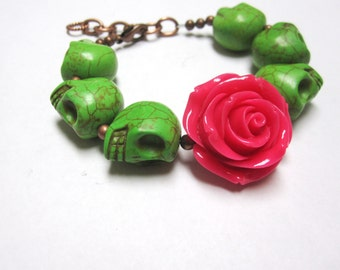 Sugar Skull Bracelet Day of the Dead Strand Jewelry Green Hot Pink Rose