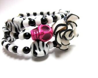 Sugar Skull Bracelet Day Of The Dead Wrap Black White Rose Hot Pink