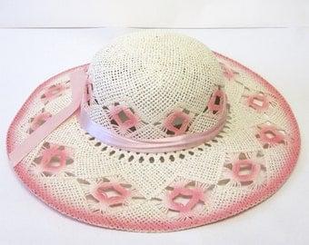 Wide Brimmed Pink White Hat