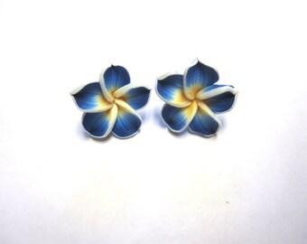 Blue Flower Earrings Floral Hibiscus Post Stud