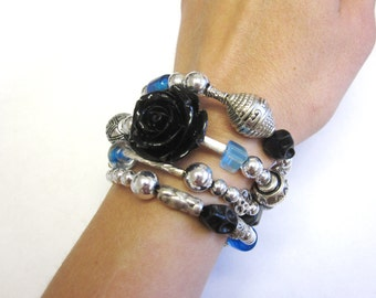 Sugar Skull Bracelet Day Of The Dead Jewelry Black Blue Silver