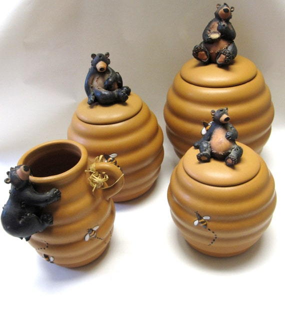 Bear Bees And Beehive Set Of Three Canisters Utensil Holder