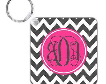 Custom Personalized KEYCHAIN Charcoal Hot Pink Chevron Stripe Pattern - CIRCLE or SQUARE - Monogram name initials