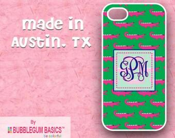 Custom Phone Case iPhone 6 5/5S 4/4S Samsung Galaxy S4 S5 -  Preppy Alligator Green Pink Flourish - Monogrammed Personalized