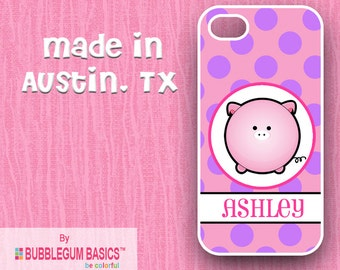 Custom Phone Case iPhone 6 5/5S 4/4S Samsung Galaxy S4 S5 - Pig Piggy Pink Polka Dots in Circle - Monogrammed Personalized