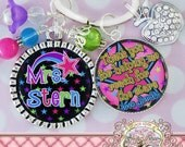 Personalized Teacher Gift, Colorful STARS Double Bezel KEY CHAIN (or Necklace)Teacher Appreciation, Personalized Name,Thank you teacher gift