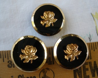 """Vintage Black & Gold Roses Glass Cabochons 7/8"""" (36L) shabby pre-owned scrapbooking jewelry buttons"""