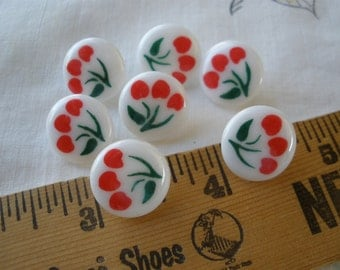 """Red Cherries on white shank buttons 5/8"""" 24L 15MM 7 pieces paper tag supply sewing crafts cool tulips flowers vintage retro"""