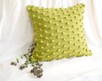 Pistachio Green Pillow Cover,16 x 16  Crochet Cotton Pillow Cover, Pistachio Green Home Decor