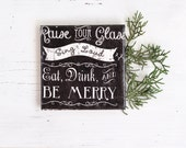 Chalkboard Style Merry Wishes Ceramic Tile Coasters Typography Black Drink Coasters Christmas New Year Hostess Gift, set of 4 - Tilissimo