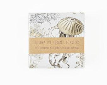 Ceramic Coasters Vintage Looking Sea Creatures Beige Neutral on White Marine Coastal Illustration, set of 4