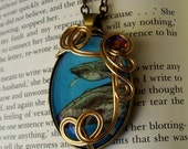 SALE-Humpback Whales (N204) - Necklace - Wire Wrapped - Artwork under Glass Cabochon - Swarovski Crystal