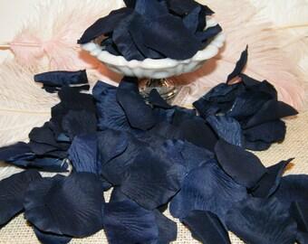 Navy Blue 200 Rose Petals - Artificial Petals - Deep Navy Blue - Bridal Shower Wedding Decoration - Flower Petals - Table Scatter
