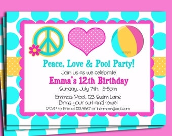 Pool Party Invitation Printable or Printed with FREE SHIPPING - Peace Love and Pool Party
