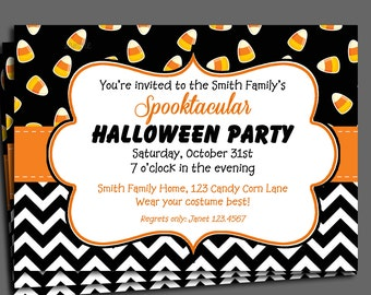 Halloween Candy Corn Invitation Printable or Printed with FREE SHIPPING - Candy Corn Delight