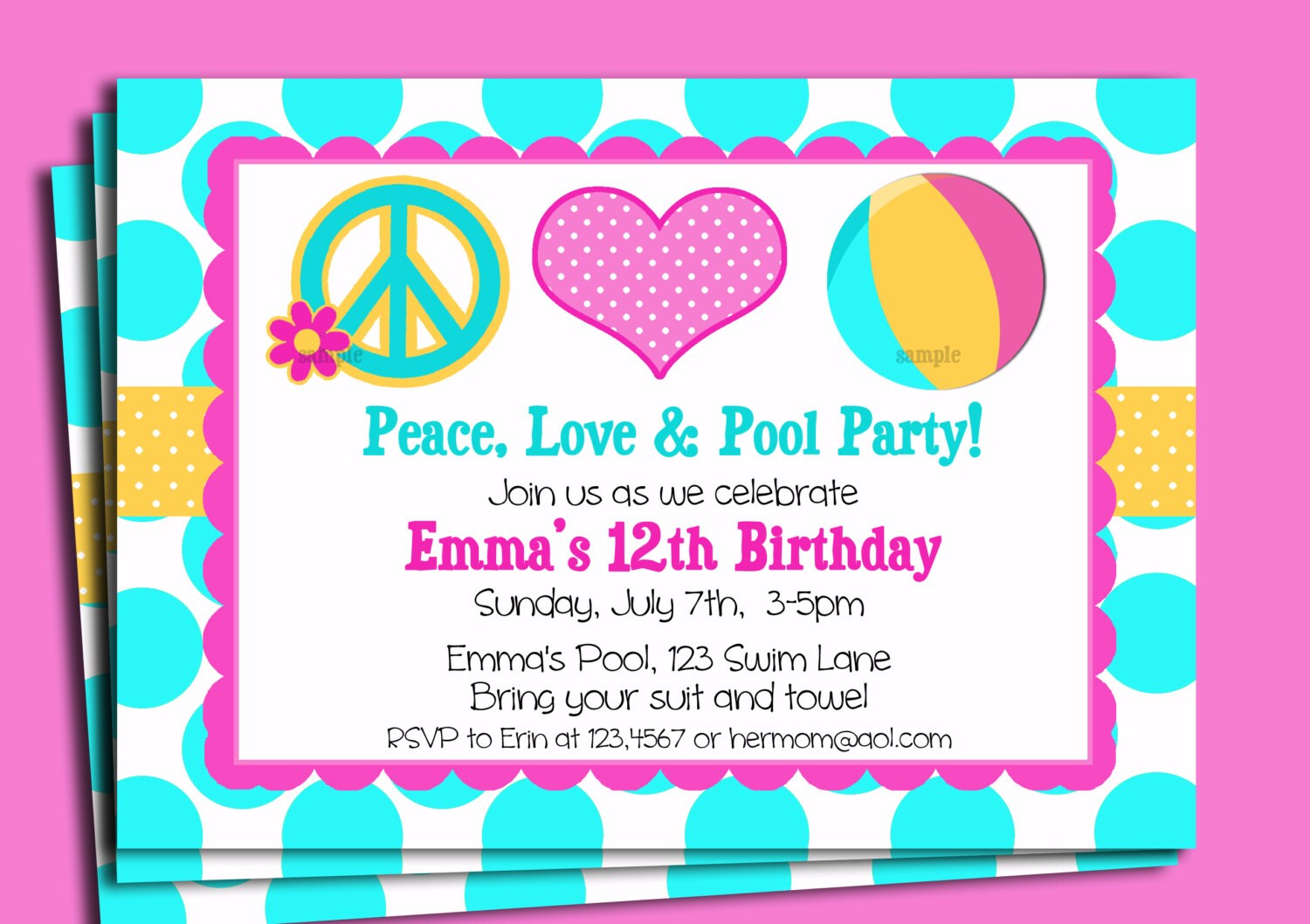 pool party pool party invitation printable or printed shipping peace love and pool party