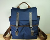 Hipster Backpack/ Canvas Backpack/ Brown Leather/ Mens Bag/School Bag/Laptop Bag/Unique Style/New York Style/Side Pockets/Back To School