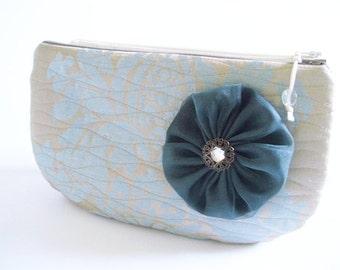 Fall fashion Clutch, Blue Wedding Clutch, Clutch with Flower, Garden Party Handbag