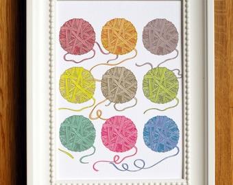 art print, multicoloured yarn, balls of wool