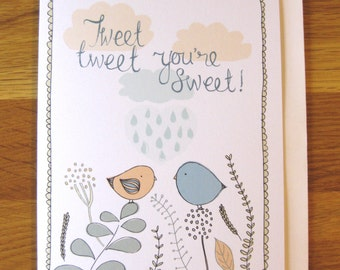 love birds greetings card, anniversary, birthday, valentines, any occasion
