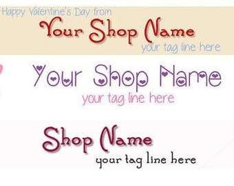 Large Etsy Facebook Cover Photo Ready Made Premade Valentine's Day Pink Heart Shop Banner- Pick one