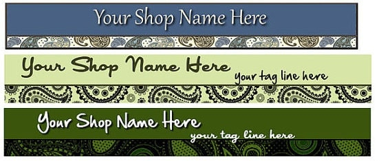 Large Etsy Facebook Cover Photo  Ready Made Green Blue Mod Paisley Pattern Etsy Shop Banner - You Pick One