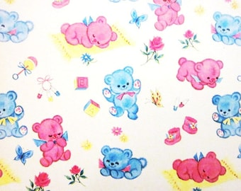 Vintage Wrapping Paper Boy Girl Toy Baby Shower One Full