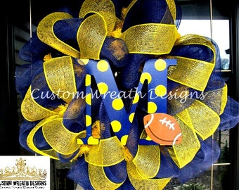 Deco Mesh Michigan Navy and Yellow Wreath