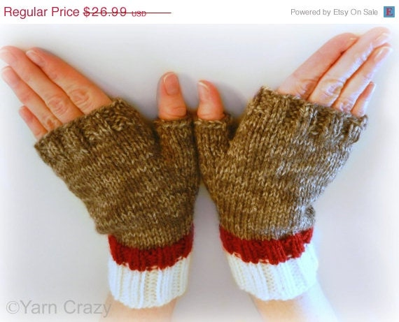 CIJ SALE Sock Monkey Fingerless Mittens // Fingerless Gloves // READY To Ship // Hand Knit // Fall Fashion Accessories