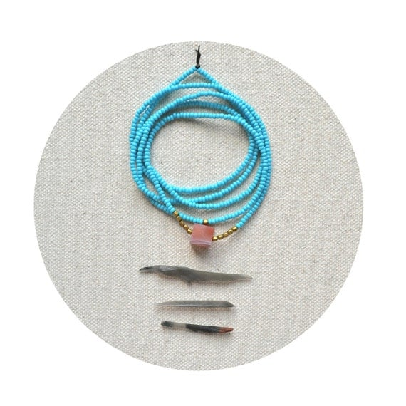 HALF OFF The Terrestrial Series in Turquoise Blue- Botswana Agate Cube Necklace