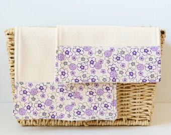 Organic Burp Cloth Set - Purple Flowers