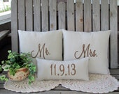 Mr. & Mrs. Pillow Covers Custom Wedding Date Mr.and Mr Pillow Mrs. and Mrs. Embroidered Wedding Gift Personalized Anniversary Shower