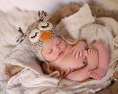 knit owl hat baby boy baby girl newborn photography prop sleepy owl made to order