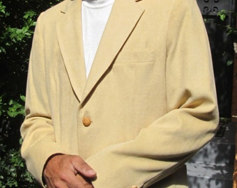 Vintage Men Sports Coat Ultra Suede Beige Butter Color / Gorgeous Large