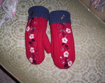 Red Mittens with Embrodiered Flowers
