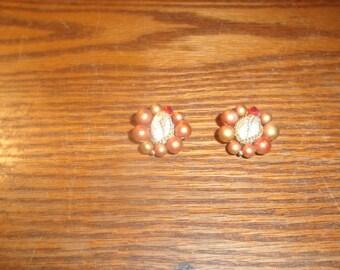 vintage clip on earrings bead cluster