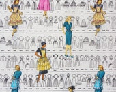 """Simplicity Vintage Patterns Fabric, 1950's Women's Dresses and Aprons, 20"""" by 44"""""""