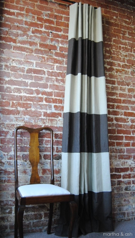 "96""L Striped Drapery Panel - custom curtains - 28 color options"
